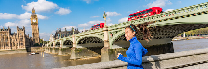 Photo sur Plexiglas Londres London city lifestyle sport woman running near Big Ben. Asian girl runner jogging training at Westminster bridge with red double decker bus. Fitness athlete happy in London, England, United Kingdom.