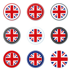 UK of Great Britain button label illustration