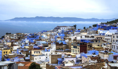 Panorama of Chefchaouen blue medina in Rif mountains, Morocco, North Africa