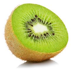 Half of ripe kiwi fruit isolated on white background