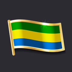 flag of Gabon in the form of badge, flat image