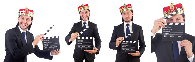 King businessman in funny concept isolated on