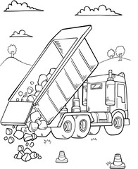 Foto auf Acrylglas Cartoon draw Dump Truck Construction Vector Illustration Art