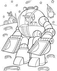 Photo sur cadre textile Cartoon draw Construction Robot Vector Illustration Art