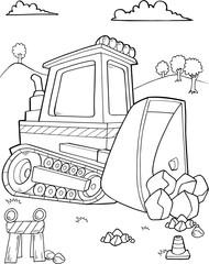 Cute Bulldozer Construction Vector Illustration Art
