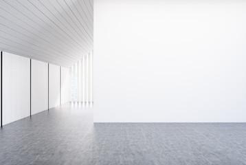 Empty white room, stairs, window, concrete