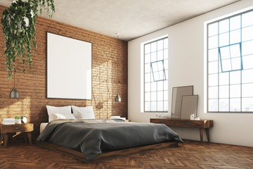 Brick bedroom, poster, corner