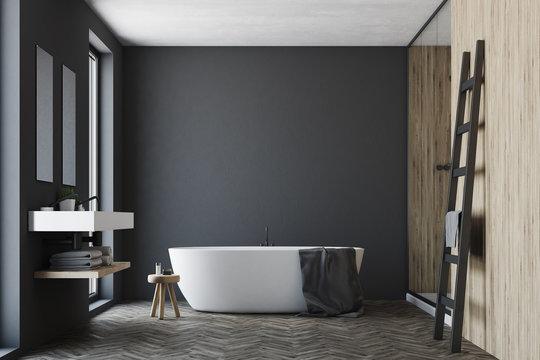 Black and wooden bathroom, white tub