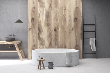Concrete and wooden bathroom, round tub
