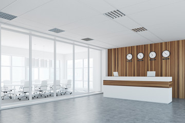 White and wooden reception, meeting room