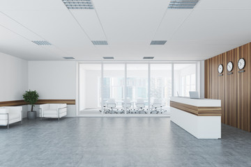 White and wooden reception, meeting room side