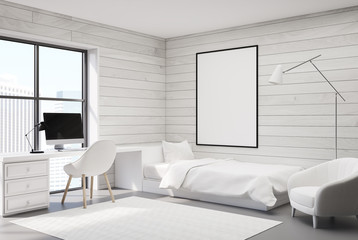 White wood bedroom, computer and poster, corner
