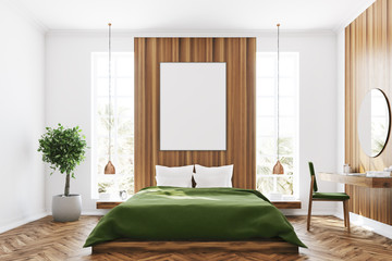 White and wooden bedroom, poster