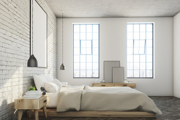 White brick bedroom, poster, side