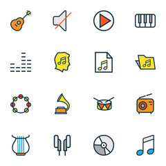 Music Colorful Outline Icons Set. Collection Of Keys, Lover, Strings And Other Elements. Also Includes Symbols Such As Lover, Music, Headphone.