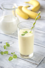 Glass of banana milk shake