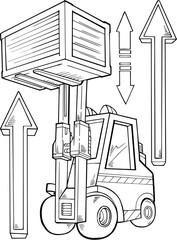 Forklift Construction Vector Illustration Art