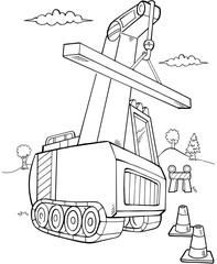Crane Construction Vector Illustration Art