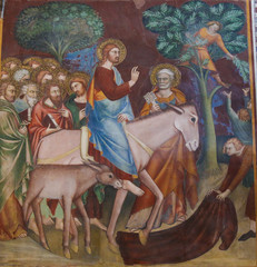 Fresco in San Gimignano - Jesus enters Jerusalem