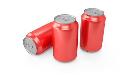 3d rendering of three red aluminum cans over white background
