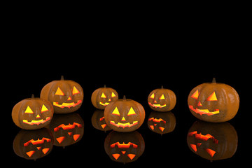 3d rendering. Halloween pumpkins with reflection on the floor with copy space background