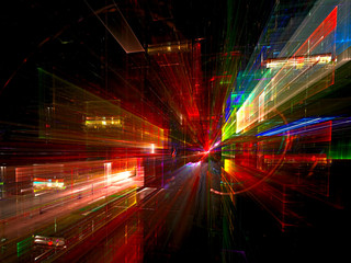 Night city - colorful fractal backdrop