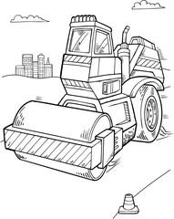 Cute Roller Construction Vector Illustration Art
