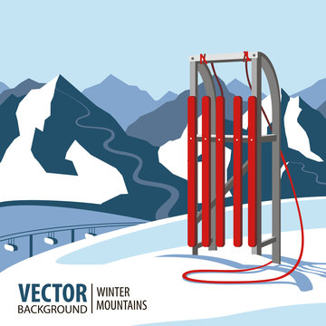 Red wooden sled. Mountains in winter season. Sport. Vector background.