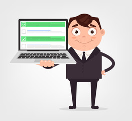 Happy smiling businessman office worker man character hold laptop with checkboxes. Vector flat cartoon illustration