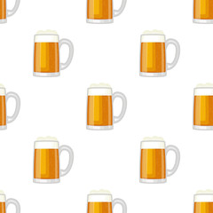 Beer cup glass mug vector seamless pattern background