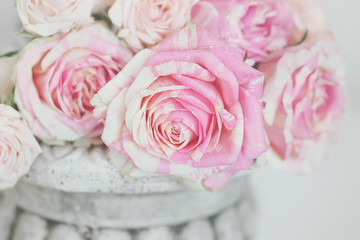 Lovely bunch of flowers .Close-up floral composition with a pink roses .Beautiful fresh pink roses.