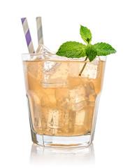 Glass of pink grapefruit soda drink
