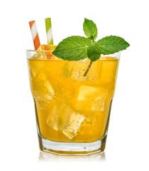 Glass of orange soda drink