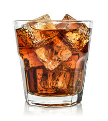 Glass of cola drink with ice
