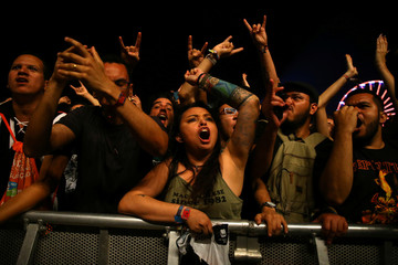 Rock fans cheer during the Rock in Rio Music Festival in Rio de Janeiro