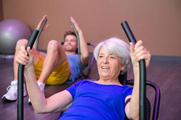 senior woman doing abs workout
