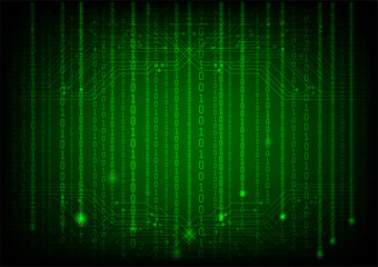 Background in a matrix style with circuit board. Green vector illustration