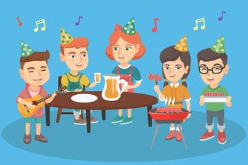 Group of caucasian joyful children having fun at outdoor birthday party. Company of happy boys and girls celebrating birthday party outdoors. Vector cartoon illustration. Horizontal layout.