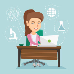 Young caucasian cheerful student sitting at the table and working on a laptop connected with icons of school sciences. Concept of educational technology. Vector cartoon illustration. Square layout.