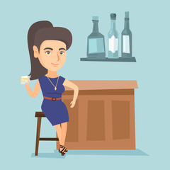 Caucasian woman sitting at the bar counter. Young woman relaxing in the bar with a glass of alcohol drink. Woman celebrating with alcohol drink in the bar. Vector cartoon illustration. Square layout.