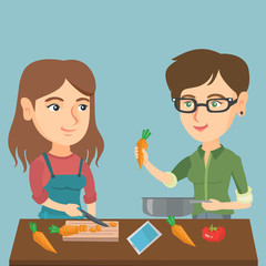 Two happy caucasian women having fun while cooking healthy meal together. Young smiling women preparing healthy vegetable meal together. Vector cartoon illustration. Square layout.