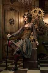 Beautiful girl, model in the style of a steampunk in a beautiful creative studio. Fashion, style, beauty.