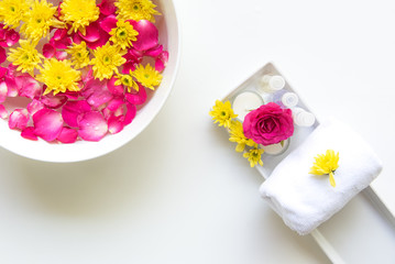 Spa Thai setting for aroma therapy with flower on the bed, relax and healthy care.  Healthy Concept