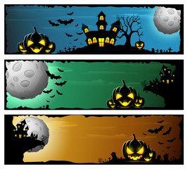 Happy Halloween banner set with scary pumpkins and castle