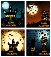 Happy Halloween banner set with scary tree and castle
