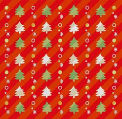 クリスマスツリーのかわいい手描き風背景(赤)