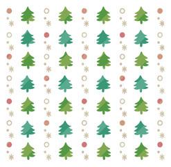 クリスマスツリーのかわいい手描き風背景(白)