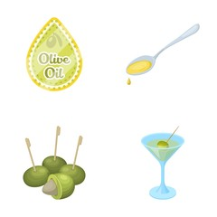 Label of olive oil, spoon with a drop, olives on sticks, a glass of alcohol. Olives set collection icons in cartoon style vector symbol stock illustration web.
