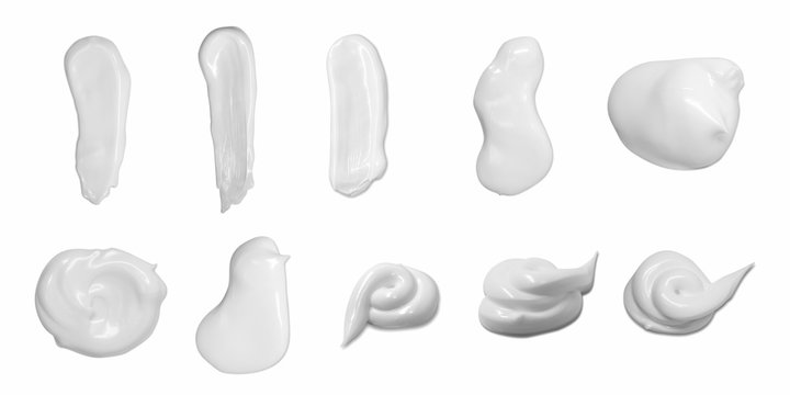 Collection of cosmetic cream isolated on white