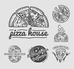 Italian authentic pizza house with family recipes monochrome emblems